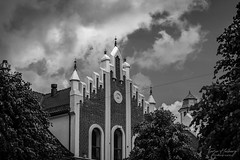 """Church wall"" (Terje Helberg Photography) Tags: bw blackandwhite bnw church cityscape clouds cloudscape mono monochrome sky skyscape trees urban tower architecture arch steeple cathedral bell minster gothic basilica"