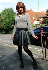 Last of Set (Amber :-)) Tags: black leatherette sunray pleated skirt tgirl transvestite crossdressing