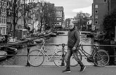 Smoking Bridge  [Amsterdam Atmosphere] (235/365) (Walimai.photo) Tags: black white blanco negro byn bw branco preto blanc noir bridge puente amsterdam holanda holland netherlands bike bicicleta bicycle cigarrette cigarrillo candid street calle robado portrait nikon d7000 nikkor 35mm