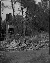 Carr fire aftermath on 4x5 film (Garrett Meyers) Tags: rbgraflex4x5 garrett meyers garrettmeyers largeformat 4x5film graflex graflex4x5 4x5 lf blackandwhitefilm homedeveloped northerncalifornia reddingphotographer film filmphotographer carrfire redding 2018 burned forest fire wildfire telegraflex chimney