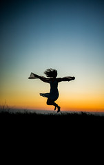 Freedom (Pan.Ioan) Tags: portrait silhouette woman freedom joy jump sunset nature outdoors beauty