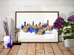 Melbourne Skyline (marianv2014) Tags: melbourne australia melbournedecor skyline skylines citysilhouette watercolor wallart skylinepainting skylineposter skylinedecor aquarelle cityposter walldecor purple yellow blue splatters splashes watercolorpainting watercolorskyline cityart modernpainting roomdecor artgifts affordableart artwork art colorful beautiful city whitebackground decor landmark