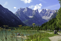 Dürrensee mit Monte Cristallo (Kat-i) Tags: dolomiten dürrensee italien italy südtirol altoadige höhlensteintal lake montecristallo berge mountains weg path himmel sky wasser water natur nature nikon1v1 kati katharina 2018