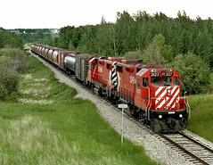 Alix AB Wednesday June 13th 1990 1400MDT (Hoopy2342) Tags: train rail railroad prairie railway alix alberta alta canadianpacific canadianpacificrailway branchline