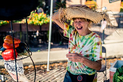 Laughing (rg69olds) Tags: 09152018 35mm 5dmk4 canoneos5dmarkiv nebraska sigma35mmf14artdghsm canon downtown farmersmarket omaha sigma laughing hat oldmarket people strawhat 35mmf14dghsm|a