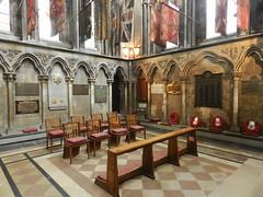 St George's Chapel, Worcester Cathedral, Sep 2018 (allanmaciver) Tags: worcester regiments war memorials flags room st george chapel cathedral quiet remember seat sit lestweforget allanmaciver