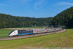 TGV POS 4405 Lyria (Elmeon) Tags: tgv lyria 4411 pos elettrotreno av altavelocità sncf sbb cff ffs treno passeggeri bern basel paris ferrovia stazione burgdorf wynigen colline hills svizzera switzerland train highspeedtrain railway bahn zug