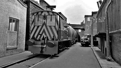 On Street Train Running. (ManOfYorkshire) Tags: heljan class05 shunter shunting loco locomotive engine diesel 176 scale model railway train oogauge diorama micro layout road rails roadrunning inset dockyardrd thedocks tank oil wagons