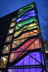 Rainbow Garage (tim.perdue) Tags: rainbow garage goodale gccc greater columbus convention center downtown urban city multicolored colorful architecture illuminated night dark stairwell geometric pattern repetition building window sky nikon d7200 nikkor 18140mm ohio roygbiv red orange yellow green blue violet purple indigo parking explore interesting explored interestingness popular