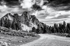 Walking towards the Mountains... (Ody on the mount) Tags: anlässe berge dolomiten em5 fanes fototour himmel italien mzuiko918 omd olympus südtirol urlaub wanderung wege wolken bw clouds monochrome mountains sw ways