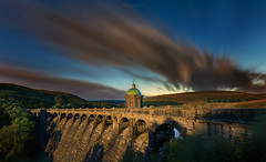 Moonlight on Craig Goch Dam (oliver.herbold) Tags: craiggoch reservoir moon moonlight avonelan elan river elanvalley valley dam water lake hills landscape longexposure evening aftersunset mood clouds calm calmness oliverherbold