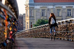 Bridge (Kornelson) Tags: bridge bridgemorningelevatorworkvistulawisłasunsunrisesunsetfogdeep woman lock lockers krakow poland fuji fujifilm xt1