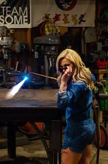 Kim Redemption-48 (sammycj2a) Tags: overalls coveralls blonde blueeyes bridgeport welding weldingtable scar gorgeous hot nikonphotography pinup machinist welder girl denim posing