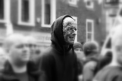 A Face In The Crowd (WorcesterBarry) Tags: blackwhite bnw street streetphotography streetphoto streetartist tattoos places people photographers portrait england candid city display adventure advertisement art love fun ~monochrome~ music monochrome face