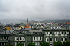 From the hotel window (Tigra K) Tags: bergen hordaland norway no 2018 architecture church city mountain ornament rain repetition roof spire tower window arch pattern