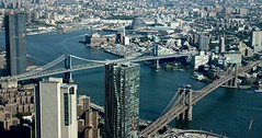 Brooklyn and Manhattan Bridges (elektron9) Tags: eastcoast nyc ny newyorkcity thebigapple architecture glass steel material manmade manhattan oneworldobservatory viewpoint lookingdown city cityview summer2018 tall skyscraper buildings people cityscape skyline brooklynbridge manhattanbridge bridge bridges connectors river blue gray brown wires transportation busy hectic noise