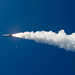 A tomahawk cruise missile launches from the Arleigh Burke-class guided-missile destroyer USS Shoup