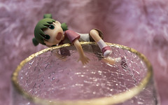 who isn't slightly cracked? HSoS! (Dotsy McCurly) Tags: cracked glass cup goldleaf rim furry fuzzy background arttoy cute girl yotsuba canoneos80d efs35mmf28macroisstm smileonsaturday