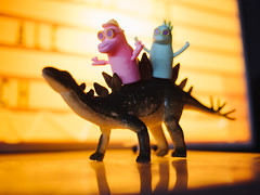 Small Brewpub (BurlapZack) Tags: olympusomdem5markii olympusmzuiko17mmf18 vscofilm pack01 dallastx oakclifftx smallbrewpub ocff oakclifffilmfestival fingerpuppets puppets stegosaurus dinosaur figures figurines tiny small little bokeh dof microfourthirds ride goinforaride cruise cruisin availablelight lowlight highiso closeup