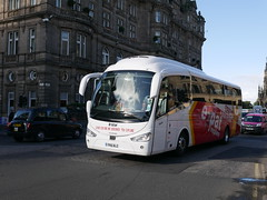 Harry Shaw of Coventry Scania K360IB4 Irizar i6 YR16BLZ, in Expat Explore livery, at Princes Street, Edinburgh, on 16 August 2018. (Robin Dickson 1) Tags: busesedinburgh harryshawofcoventry scaniak360ib4 irizari6 expatexplorer yr16blz