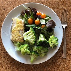 Healthy Plate (Melinda Stuart) Tags: supper silver white fork salad sweet yellow sungold tomato lettuce broccoli fish plate