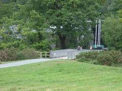 Llanberis Lake Railway - footbridge (ell brown) Tags: llanberislakerailway rheilfforddllynpadarn padarncountrypark llanberis gwynedd wales unitedkingdom greatbritain caernarfon narrowgaugeheritagerailway llynpadarn snowdonianationalpark tree trees train field bridge carriage footbridge