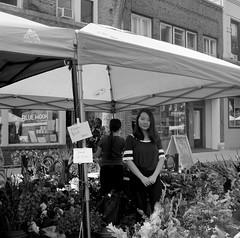 A Girl Among the Flowers (David Helvering) Tags: wisconsin appleton farmersmarket girl flowers 120film 6x6 squareformat tmax100 mediumformat kodak film