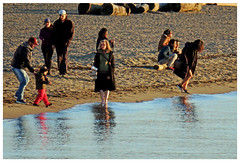 Wants to Wade, Is Wading, Trying not to Wade (HereInVancouver) Tags: people outdoors beach water ocean wading pacific englishbay candid city urban vancouverswestend canong3x vancouver bc canada thingstodobythewater