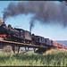 11.10.1969 Wilmington line - South Australia locos SAR T240 + T251 on ARHS special Farewell to Narrow Gauge on bridge (mb-s005-12)