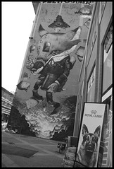 Royal wall (Plaisirs Graphic) Tags: ccbysa création bw noiretblanc streetphotography streetphotographie photo photographie pentax grenoble street king god star tram amour communauté group building enseigne chien dog