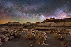 Ancient Alien Eggs (Wayne Pinkston) Tags: hoodoo eggs crackedeggs alieneggs eggfactory badlands newmexico night sky nightsky nightphotography nightlandscape nightscape waynepinkston waynepinkstonphotocom lightcrafter lightcraftercom stars starrynight milkyway galaxy astrophotography landscapeastrophotography widefieldastrophotography nikon desert wilderness dramaticsky