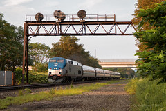 PT307.4 (Wheelnrail) Tags: amtrak amtk train trains ge p42dc pennsylvanian pa pennsylvania prr signal bridge pittsburgh line ns norfolk southern signals passenger evening pt3074
