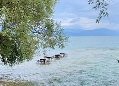 Macedonia (Ohrid) Unusual cafe!! (ustung) Tags: tables nature cafe lake landscape ohrid macedonia