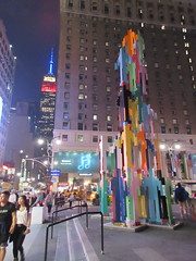 People Tower steel sculpture by Jonathan Borofsky 0272 (Brechtbug) Tags: people tower steel sculpture by artist jonathan borofsky located plaza 33 near entrance madison square garden penn station new york city 2018 nyc midtown manhattan night art sculptures public arts 911 september 09112018
