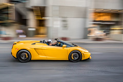 Lamorghini (HisPhotographs.com) Tags: panning toronto lamborghini yellow downtown queen street convertible car fast motion movement