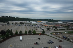 "USA near Pittsburgh PA Monroeville Mall seen from high floor of Double Tree hotel - ""Dawn Legacy"" (moreska) Tags: usa monroeville mall pennsylvania roadside vintage dawn dead filminglocation cloudy morning parkingarea panoramic history travel tourism movies horror retail shopping westernpa north america"
