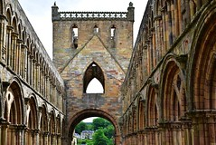 Nave, Jedburgh Abbey (orientalizing) Tags: 13thcenturyad abandoned arcaded archaia architecture gothic jedburghabbey nave ruins scotland