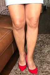 MyLeggyLady (MyLeggyLady) Tags: cleavage hotwife milf sexy secretary teasing minidress thighs cfm pumps stiletto red legs heels