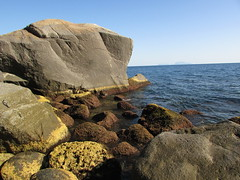 Hidden place (**yukiko**) Tags: mare estate pozzuoli scogli mind gap walking yellow line rocks summer sea blu nature