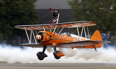 Wing Walkers (Bernie Condon) Tags: wingwalkers girls ladies aerobatics wingwalking aerosuperbatics boeing stearman trainer vintage classic preserved aircraft plane biplane bigginhill airport londonbigginhill historic airfield airshow aviation display flying planes festivalofflight