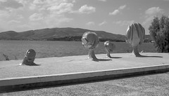 Art piece in Volos (Shawn Blanchard) Tags: art piece sculpture work volos greece greek aegean sea water black white bw sky clouds cloud mountains mountain metal rock form tree
