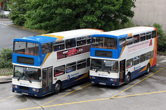 16327 and 16325 (Cumberland Patriot) Tags: stagecoach cms cumberland motor services ribble north west england cumbria lancs lancashire preston deepdale road depot volvo olympian alexander rl 703 2273 16327 n327npn step entrance double deck decker bus omnibus x61 passenger service transport transit greater manchester south buses