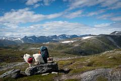 A small break (hanschristian_nielsen) Tags: norge vandreferie trollheimen hiking summer norway dog samyoed people cloud