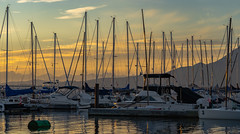 The Marina (Sworldguy) Tags: marina sunset evening boats sailboat masts reflections skyscape water waterfront yachts serene vancouver harbour