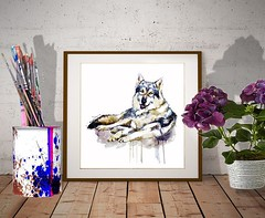 Smiling Wolf (marianv2014) Tags: smiling wolf wolves animal animals wild wildlife animalart fury happy wallart walldecor fineart wolfposter wolfpainting watercolor aquarelle blue beige sitting splashes splatters drippingpaint carnivores wolfdecor animalposter animaldecor animalwall predators artgifts affordableart forestanimals wildbeast squareformat canislupus canids illustration artwork beautiful whitebackground contemporary zoology single decor charming