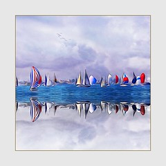 Sailing, The Cure For Anything (Christina's World Off and On) Tags: square frame photoborder border coronado california socalifornia sandiego bay birdsflying clouds sky creative colorful colors painterly digitalart dramatic digitalpainting exotic exoticimage expressionism flying impressionism impressionistic landscape seascape outdoors ocean painting red scenic sea textures unitedstates usa view water waves spinnakers sailing regatta boats sailboats sails redwhiteblue abstract