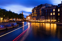 Light Trails (Sarah Marston) Tags: amsterdam night canals lighttrails traffictrails boats lights clouds blue bluehour sony ilce6300 august 2018