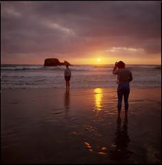 sundowners (steve-jack) Tags: hasselblad 501cm 80mm cb kodak ektachrome 100 plus film 120 6x6 mf medium format cornwall sunset beach perranporth tetenal e6 kit epson v500