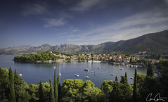 Cavtat Morning ([CamCam]) Tags: cavtat croatia view harbour town church tower trees