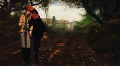 Afternoon Walk (Greeneyed System) Tags: sl secondlife autumn nature woods forest fall leaves countryside park adorable cute picnic pie coffee milesdrayton valentinwolfram yasminia male couple avatars maleavatars coat jacket scarf cosy gaylywalking armloop ihavecoffee coffeeisgood